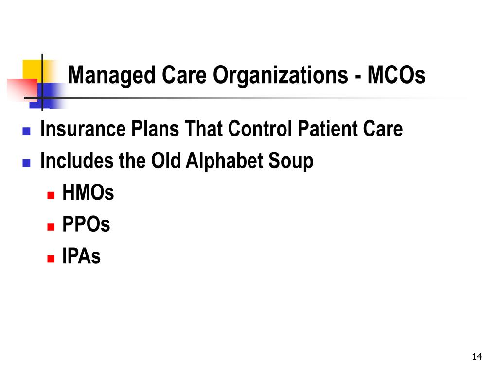 Managed Care Organizations - MCOs