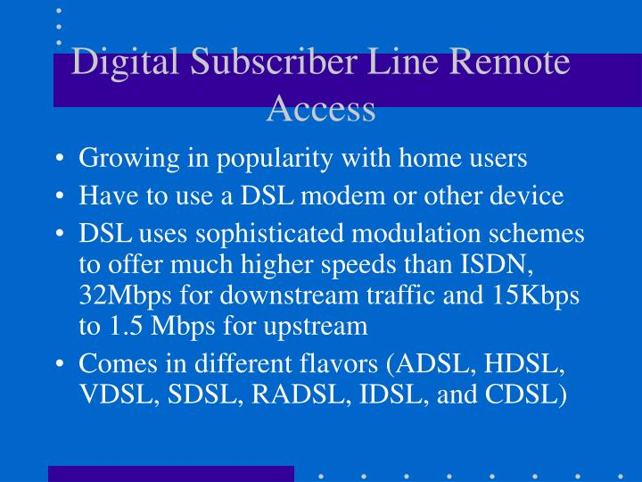 Digital Subscriber Line Remote Access