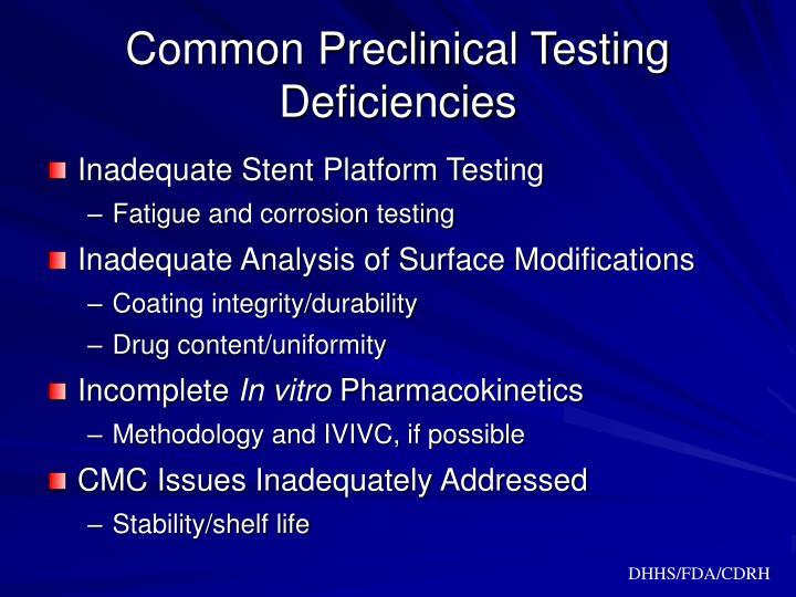Common Preclinical Testing Deficiencies