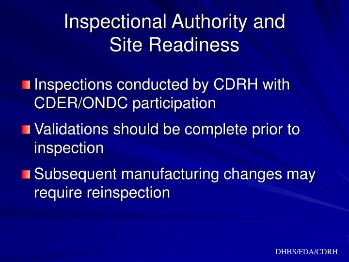 Inspectional Authority and