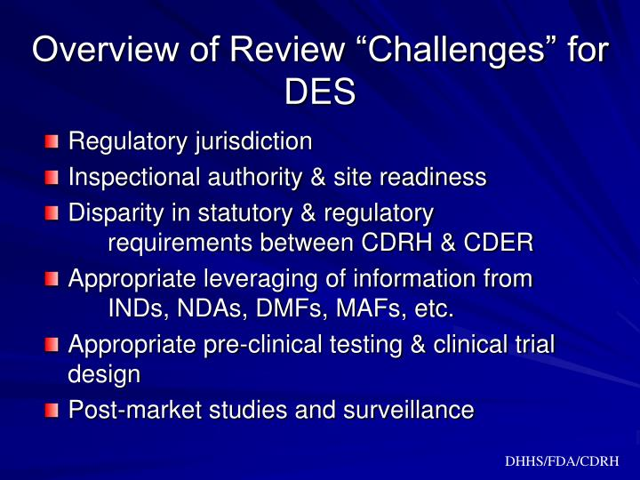 "Overview of Review ""Challenges"" for DES"