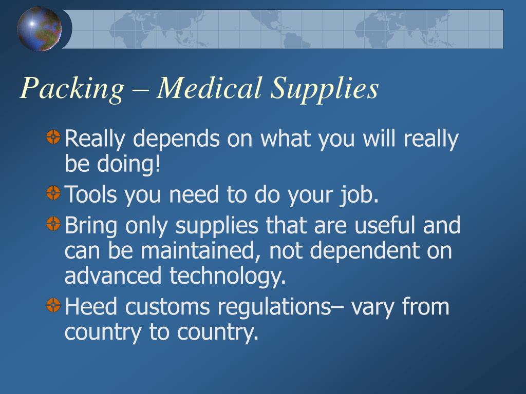 Packing – Medical Supplies