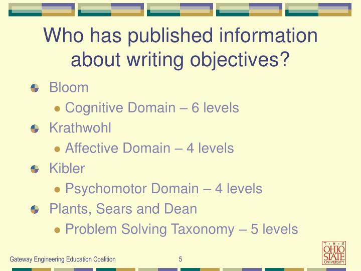 Who has published information  about writing objectives?