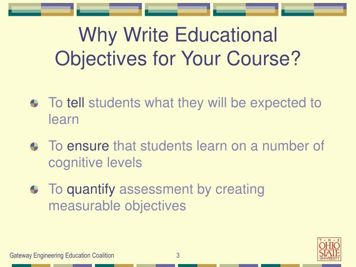 Why write educational objectives for your course