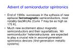 advent of semiconductor spintronics