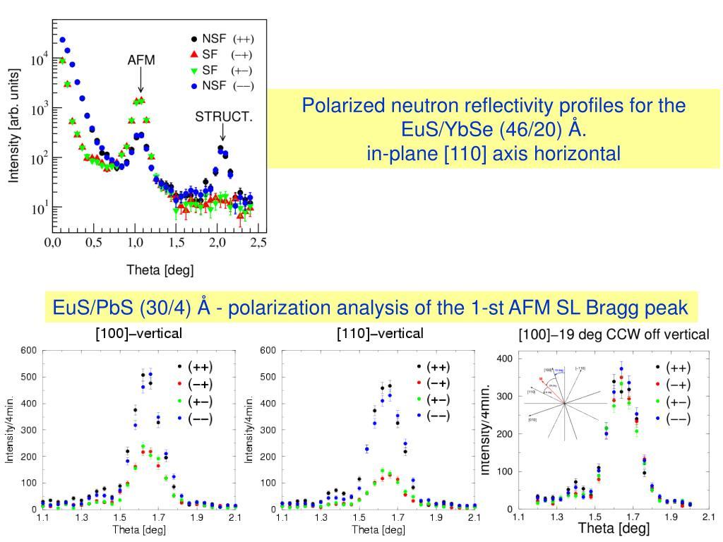 Polarized neutron reflectivity profiles for the