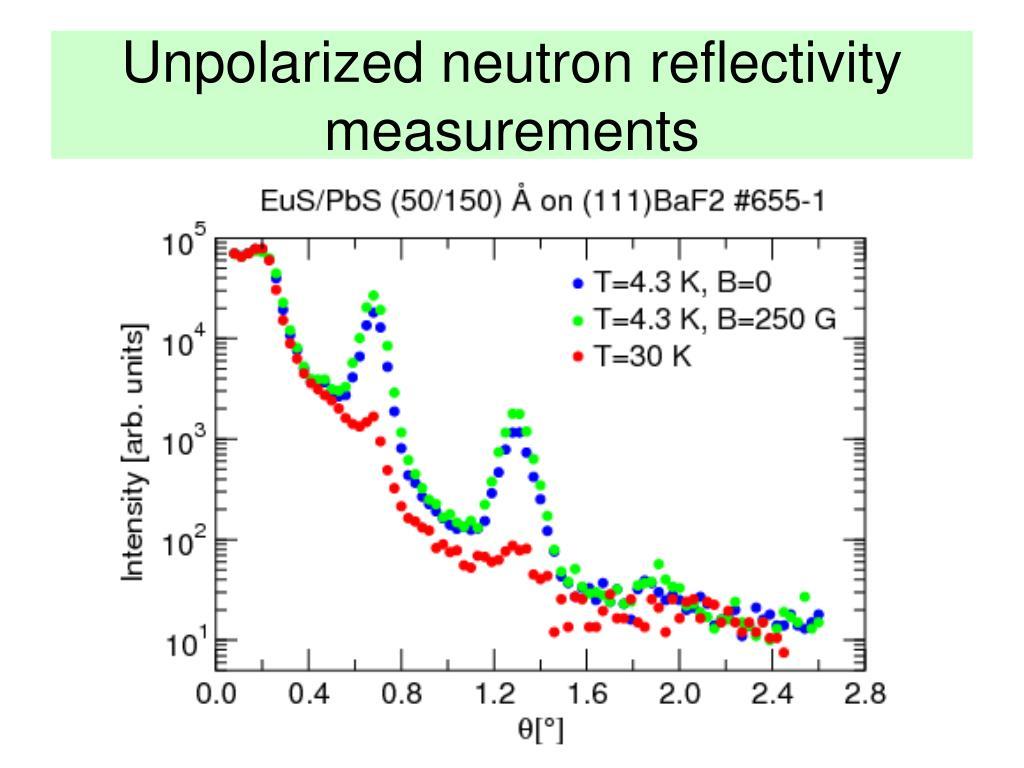 Unpolarized neutron reflectivity measurements
