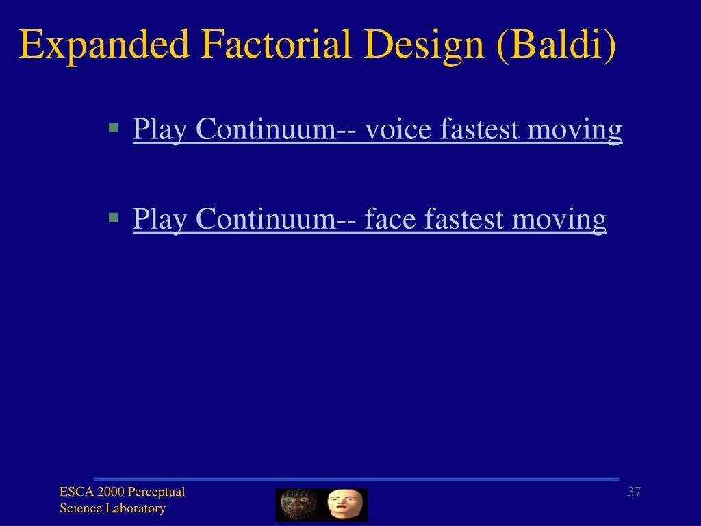 Expanded Factorial Design (Baldi)
