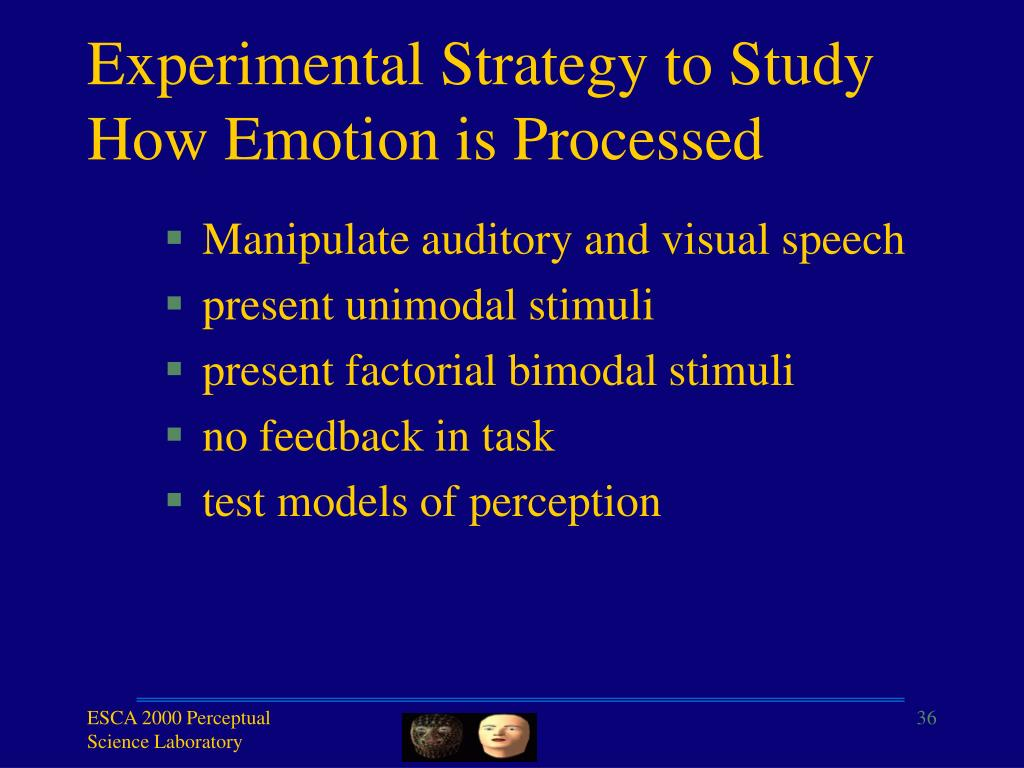 Experimental Strategy to Study How Emotion is Processed