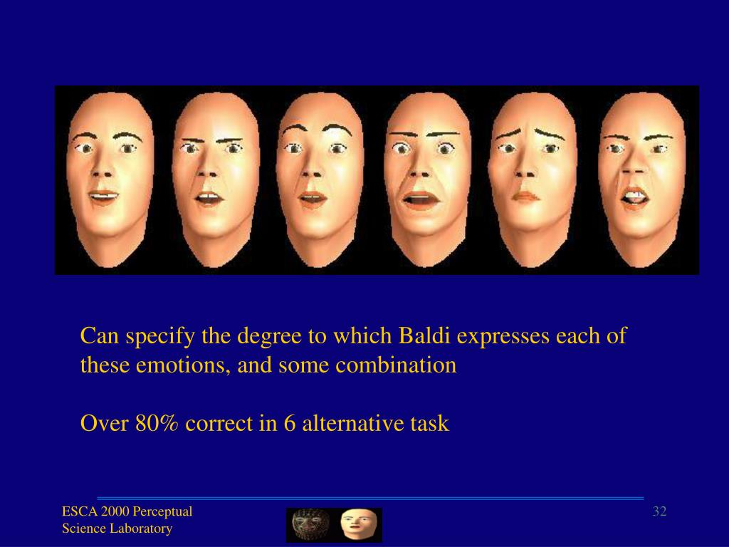 Can specify the degree to which Baldi expresses each of these emotions, and some combination