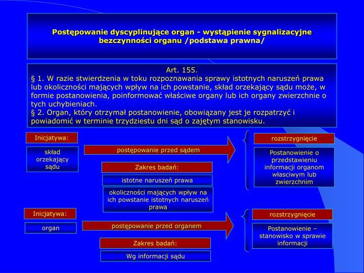Postępowanie dyscyplinujące organ - wystąpienie sygnalizacyjne bezczynności organu