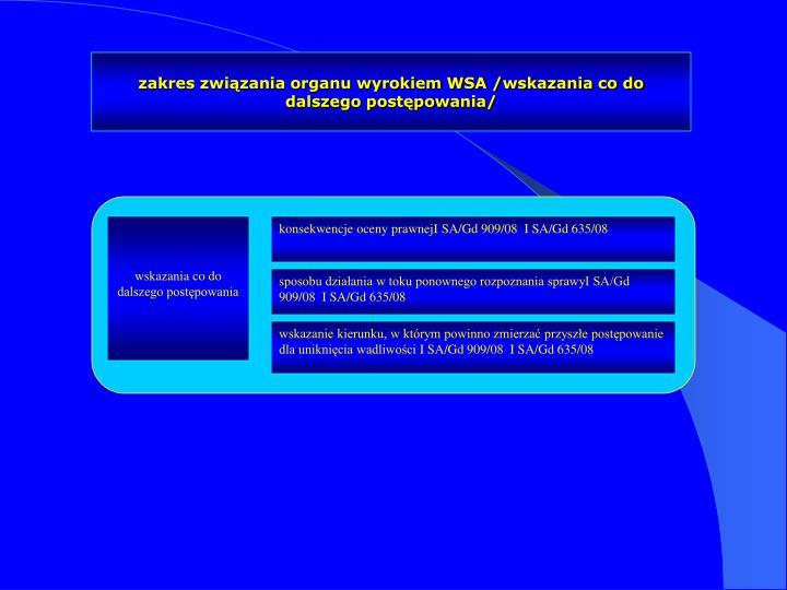 zakres związania organu wyrokiem WSA /wskazania co do dalszego postępowania/