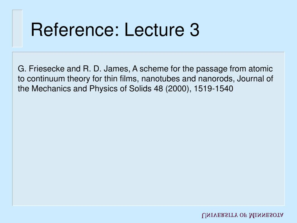 Reference: Lecture 3