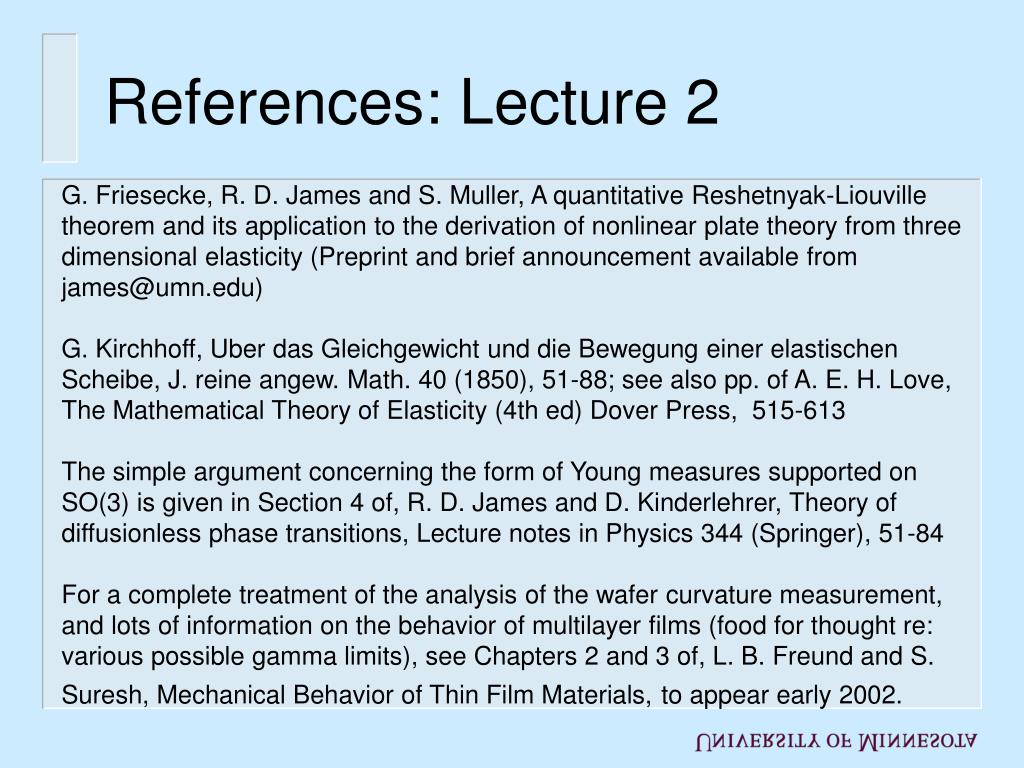 References: Lecture 2