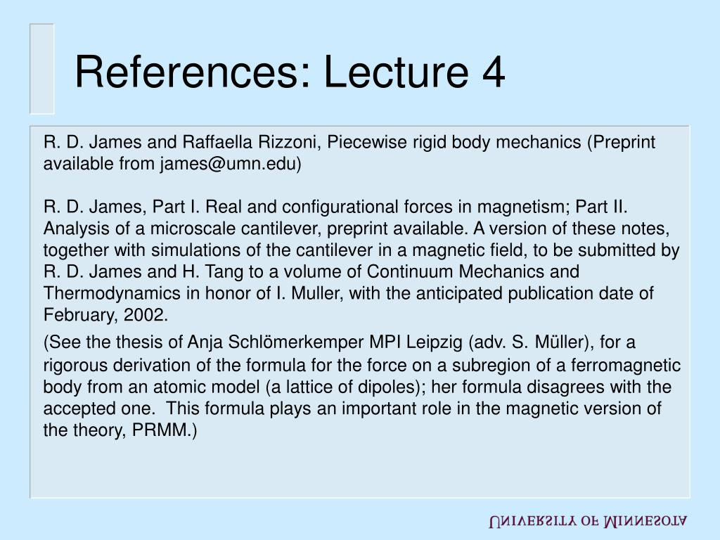 References: Lecture 4