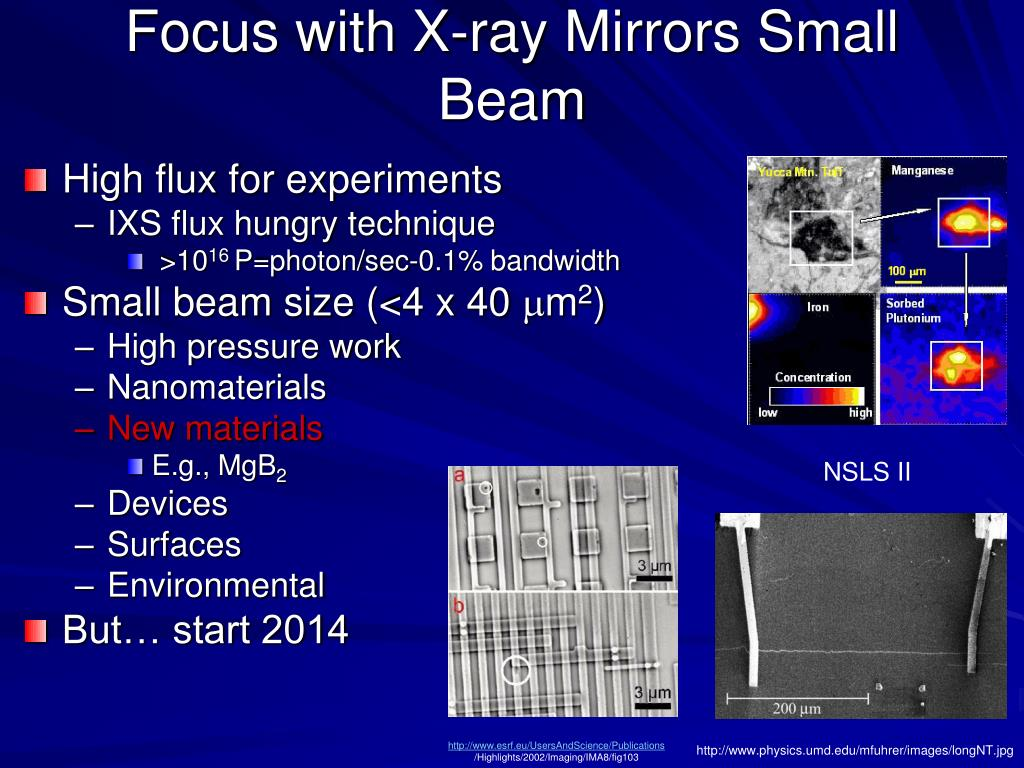 Focus with X-ray Mirrors Small Beam