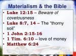 materialism the bible
