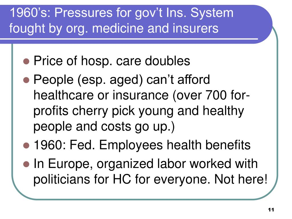 1960's: Pressures for gov't Ins. System fought by org. medicine and insurers