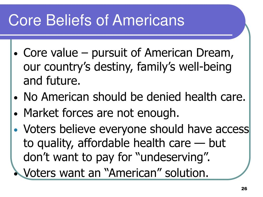 Core Beliefs of Americans