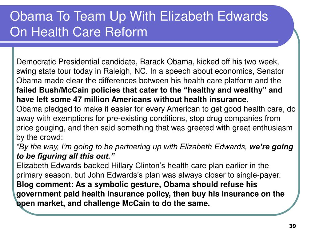Obama To Team Up With Elizabeth Edwards On Health Care Reform