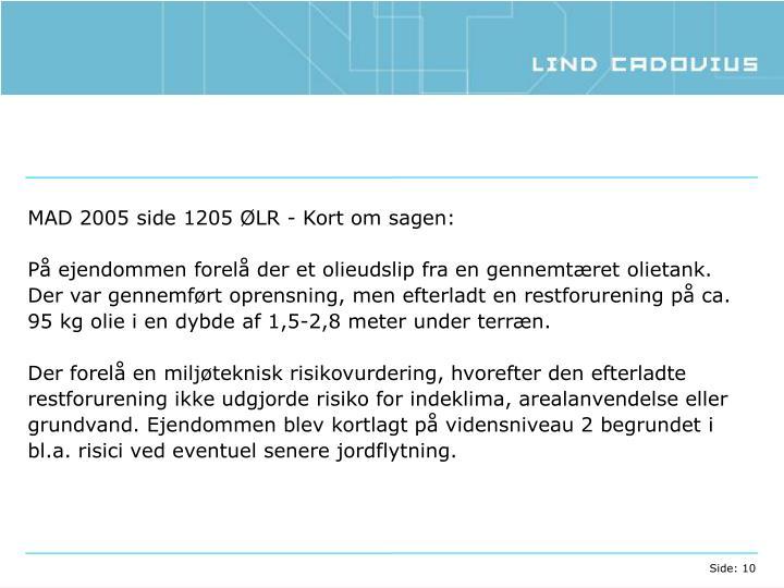 MAD 2005 side 1205 ØLR - Kort om sagen: