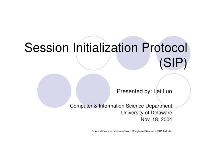 Session initialization protocol sip