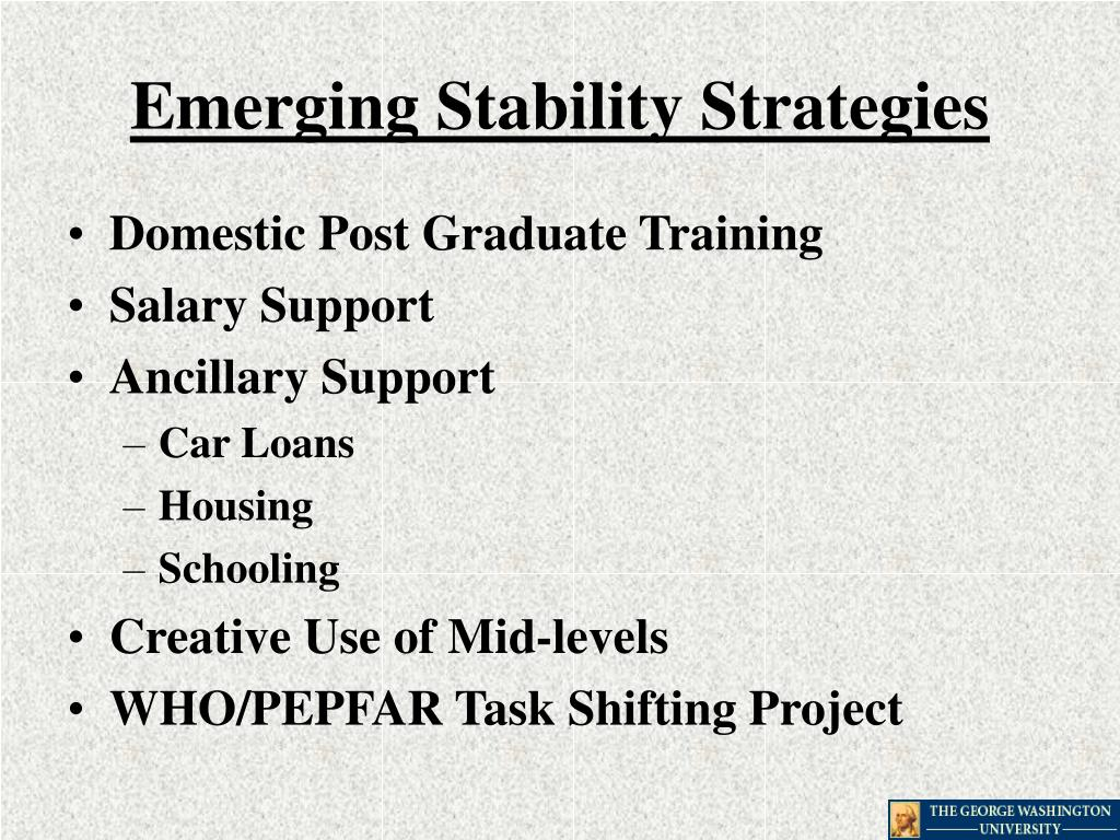 Emerging Stability Strategies