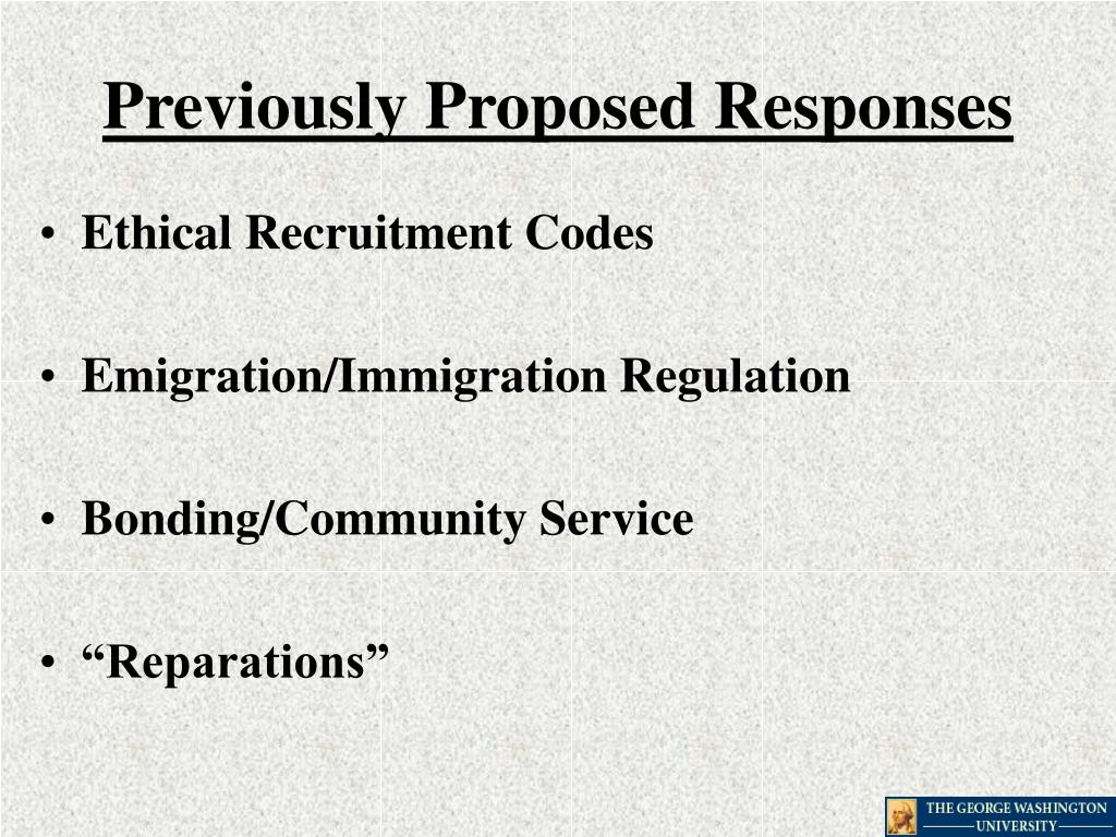 Previously Proposed Responses