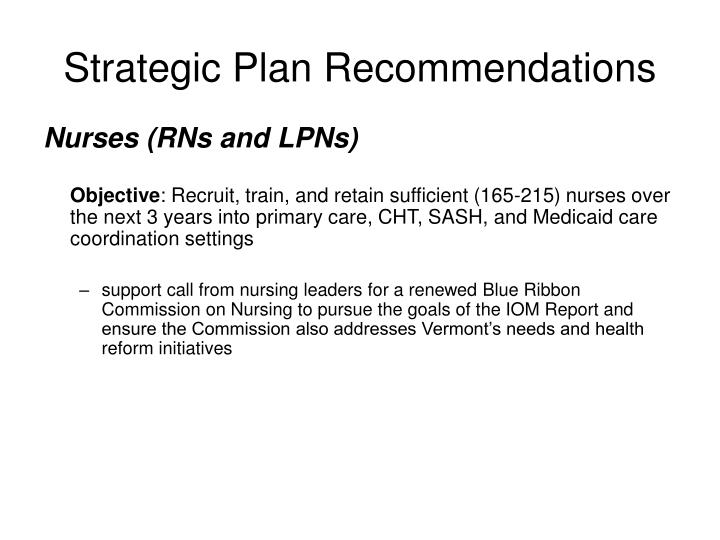 Strategic Plan Recommendations