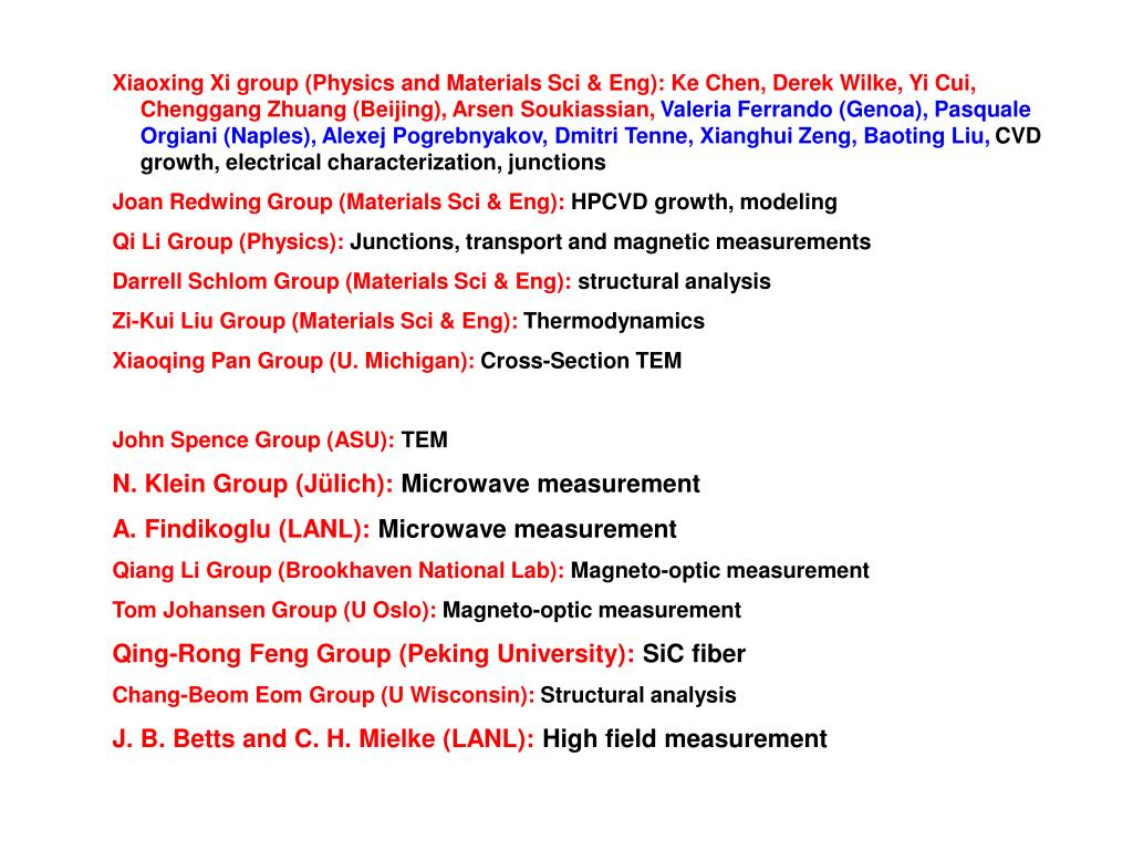 Xiaoxing Xi group (Physics and Materials Sci & Eng):