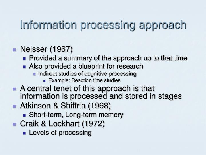 an overview of the memory system and the stages of development by craick and lockhard Cognitive psychology class notes for models of memory.