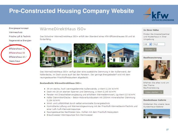 Pre-Constructed Housing Company Website
