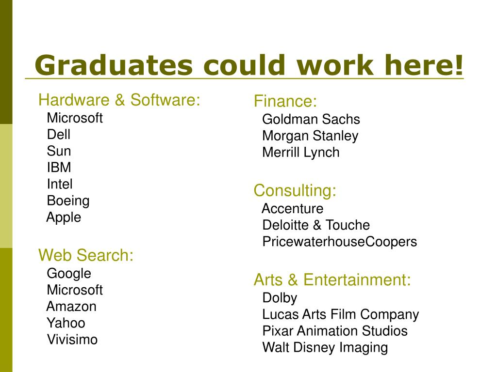 Graduates could work here!