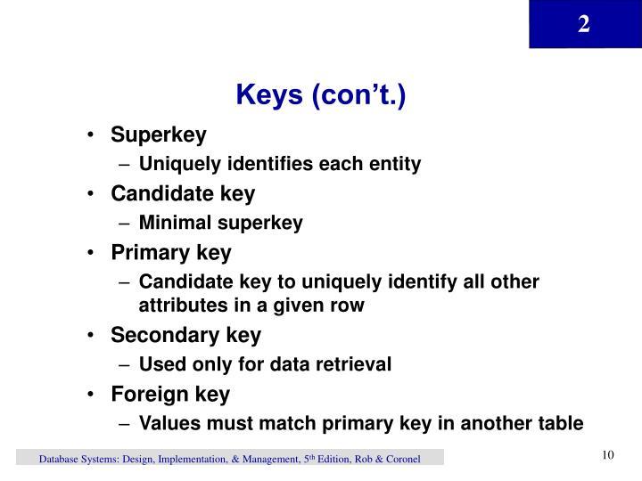 Keys (con't.)