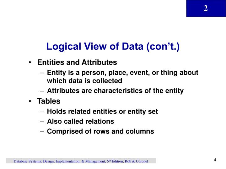 Logical View of Data (con't.)