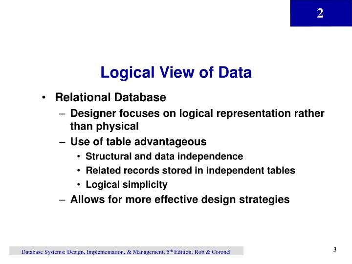 Logical View of Data