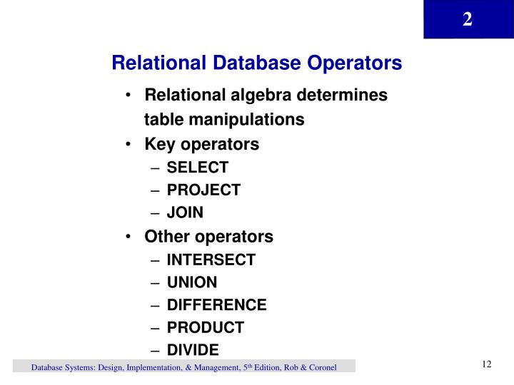 Relational Database Operators