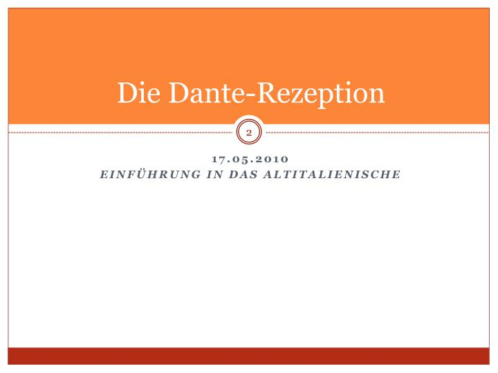 Die dante rezeption