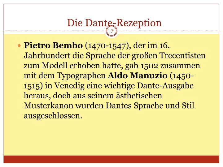 Die Dante-Rezeption