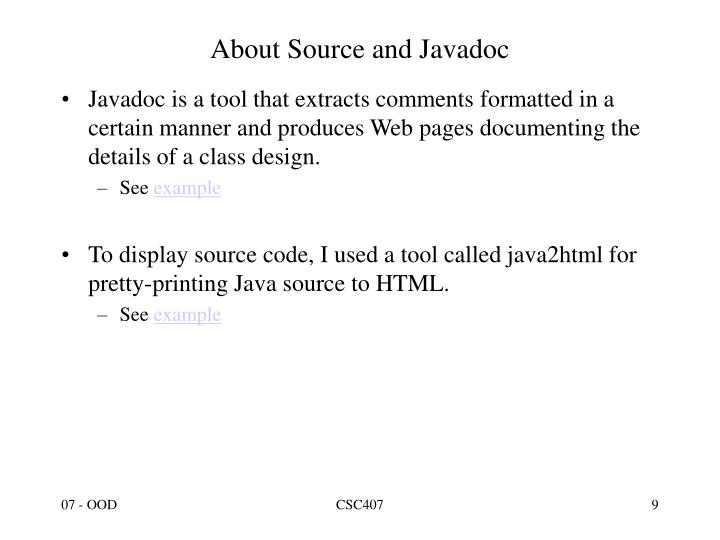 About Source and Javadoc