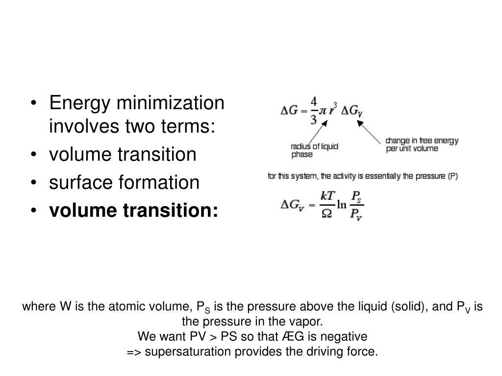 Energy minimization involves two terms: