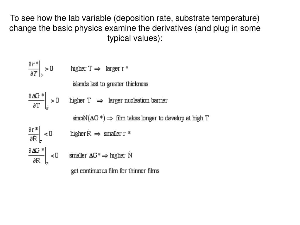 To see how the lab variable (deposition rate, substrate temperature) change the basic physics examine the derivatives (and plug in some typical values):
