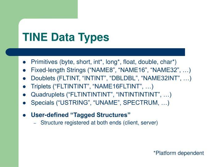 TINE Data Types