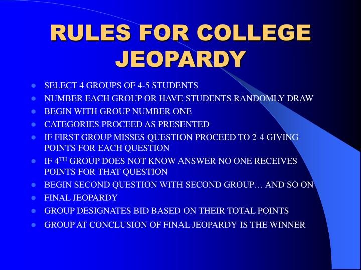 Rules for college jeopardy