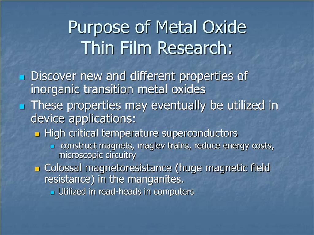 Purpose of Metal Oxide