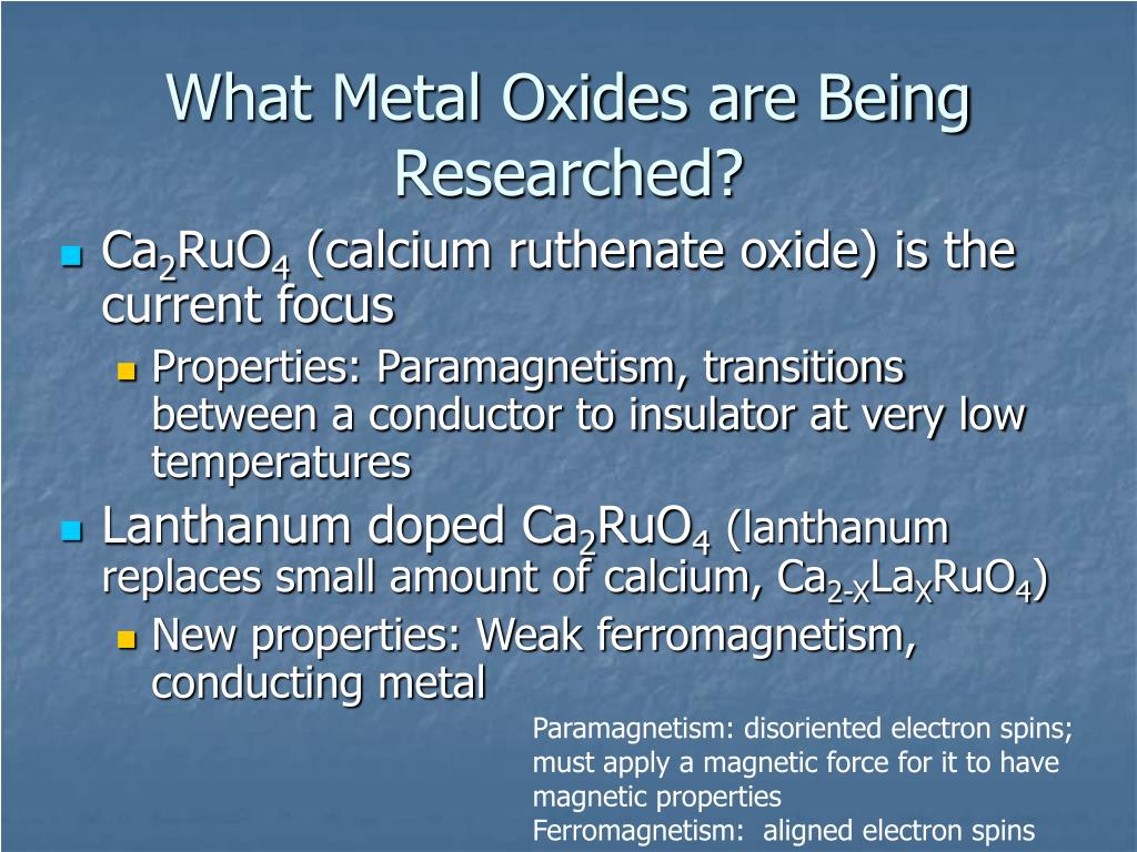 What Metal Oxides are Being Researched?