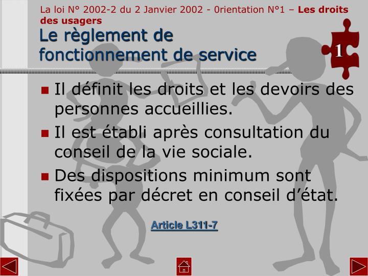 La loi N° 2002-2 du 2 Janvier 2002 - 0rientation N°1 –