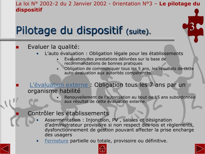 La loi N° 2002-2 du 2 Janvier 2002 - 0rientation N°3 –