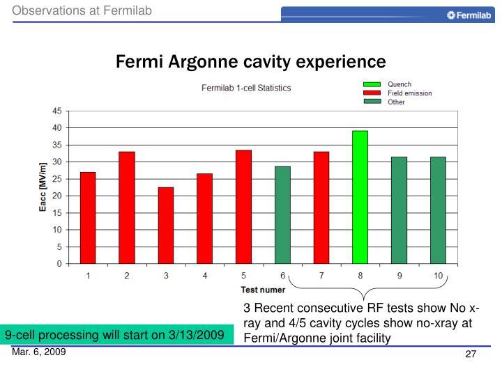 Fermi Argonne cavity experience
