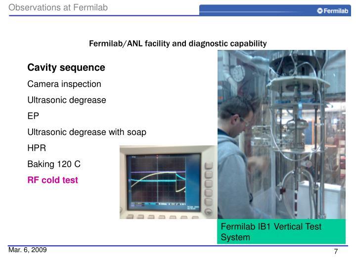Fermilab/ANL facility and diagnostic capability